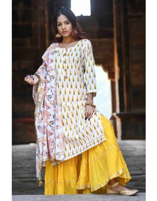 Yellow Block Printed Sharara Set