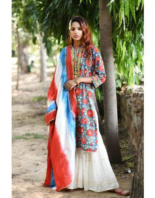 Floral Kurta Set With Tie Dye Dupatta