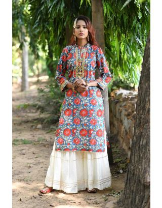 Floral Kurta With Sharara Set