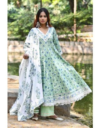 Green Block Printed Anarkali Set