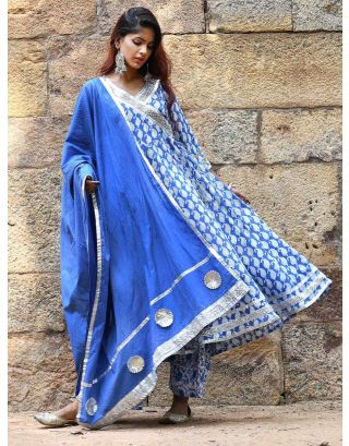 Indigo Block Printed Anarkali Set