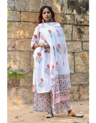 White Block Printed Kurta Set
