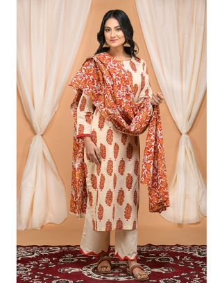 Cream Floral Printed Kurta Pants Set