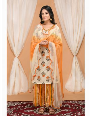 Cream and Orange Floral Printed Kurta Pants Set