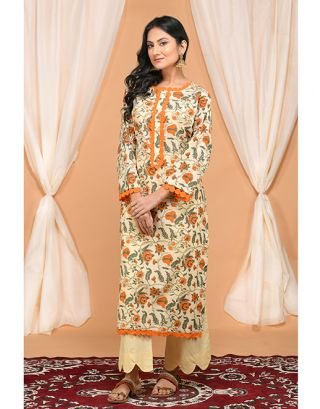 Cream and Orange Kurta Pants