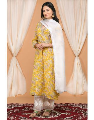 Mustard Floral Printed Kurta Applique Pants Set
