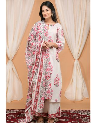 Pink Floral Printed Kurta Slit Pants Set