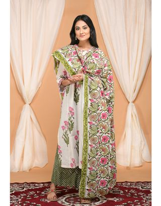 White and Green Kurta Hem Palazzo Set