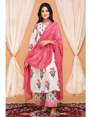 Lotus Printed Kurta Palazzo with Embroidered Dupatta