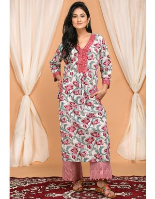 Red and Green Floral Kurta and Zigzag Palazzo