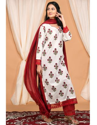 Red and White Lac Kurta Palazzo Set